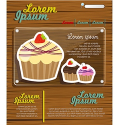 Web site design cupcakes on wood vector image