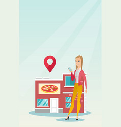 Woman looking for a restaurant in her smartphone vector