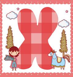 X alphabet letter for kids vector