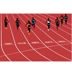 young woman runner running sprint vector image