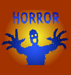 zombie silhouette with glowing eyes draws his vector image