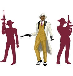 Afroamerican mafioso godfather with crew vector image