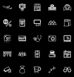 Application line icons on black background vector image vector image