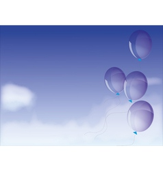 Blue skies with balloons vector image