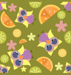 cute cartoon seamless pattern with flowers citrus vector image