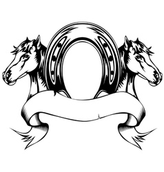 heads horses and horse shoe vector image vector image