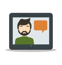 tablet man bubble speech chat vector image vector image