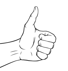 Black and white thumbs up vector image vector image