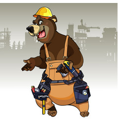 cartoon character bear dressed in the working vector image