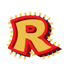 letter r lamp glowing font vintage light bulb vector image vector image