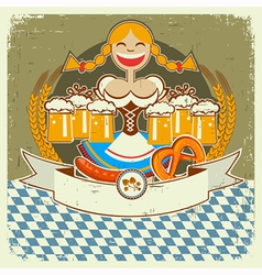 Vintage oktoberfest symbol label with girl and vector image vector image