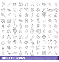 100 feast icons set outline style vector image