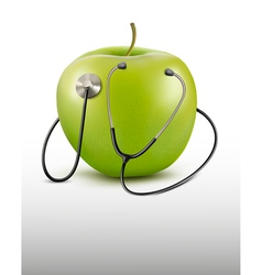 Stethoscope and green apple Medical background vector image