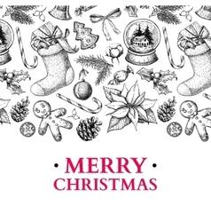 Christmas holiday greeting card hand drawn vector image vector image