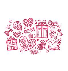 Love wedding concept set of decorative elements vector