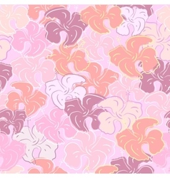 Seamless pattern of hibiscus flowers Floral color vector image