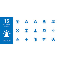 15 caution icons vector