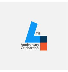 4th anniversary celebration template design vector