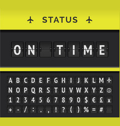 Airport flip board timetable with flight vector