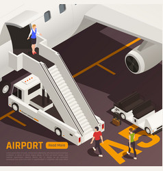 Airstairs truck airport background vector