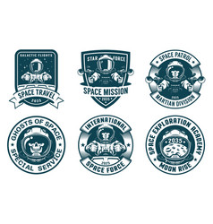 Astronaut badge set in vintage style vector