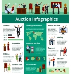 Auction sales worldwide flat infographic banner vector