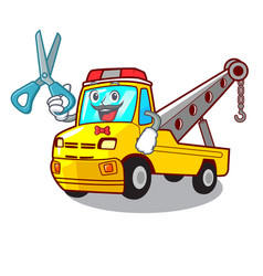 Barber cartoon tow truck isolated on rope vector