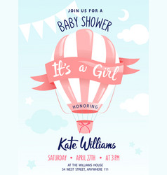 Bashower concept cute air balloon with vector