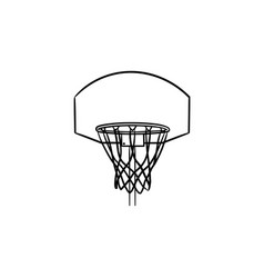 basketball hoop and net hand drawn outline doodle vector image