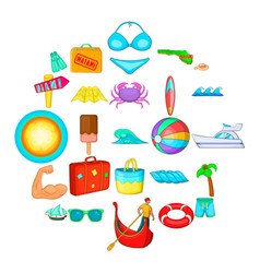 beach icons set cartoon style vector image