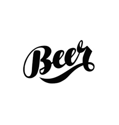 Beer hand lettering alcoholic beverage logo vector