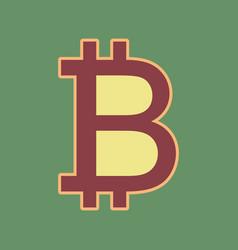 Bitcoin sign cordovan icon and mellow vector