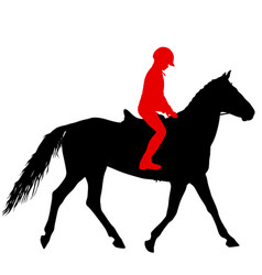 Black silhouette horse and jockey vector