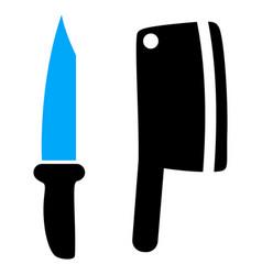 Butchery knives icon vector