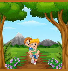 cartoon kids playing in the jungle vector image
