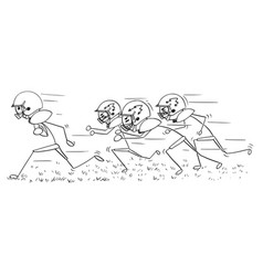 Cartoon of american football player running with vector