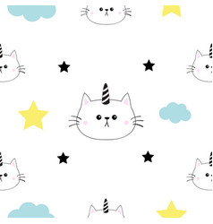 cat unicorn horn head hands cloud star shape cute vector image