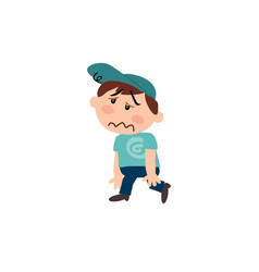 Character of a dizzy white boy with blue cap vector
