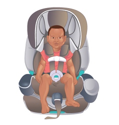 Child in safety seat vector