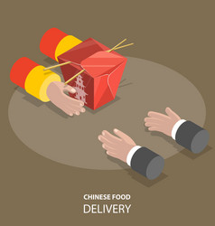 Chinese food fast delivery flat isometric low poly vector