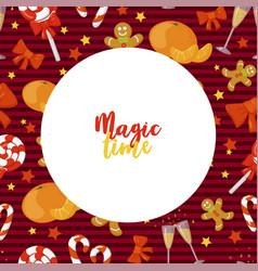 christmas frame magic time holiday vector image