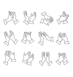 Clapping Linear Black White Icons vector image