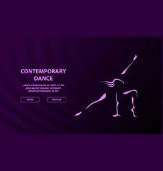 Contemporary dancing girl outline on a dark vector