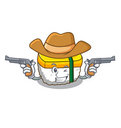 Cowboy tamago sushi isolated on a mascot vector