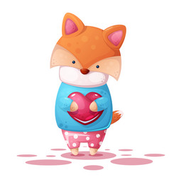 cute fox and heart illutration vector image