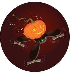 cute halloween pumpkin flying on a drone vector image