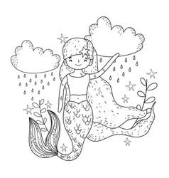 cute mermaid under sea with seaweed vector image