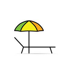 Deckchair with umbrella line vector