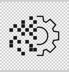 Digital gear icon in transparent style cog on vector