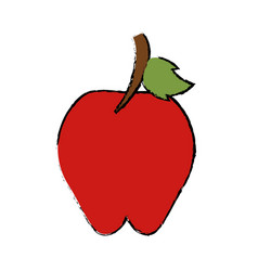 Drawing sweet red apple vitamin nature vector